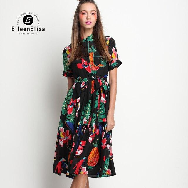 Luxus Kleider Frauen Designer Weinlese runway Print Kleid 2017 ...