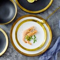 European Style Phnom Penh Handmade Ceramic Plate Western Steak Plates Home Black Scrub Dish Serving Plate Creative Cuisine Plate