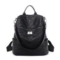 vintage fashion soft leather backpack preppy style all match women backpacks multis functionals shoulder bag female