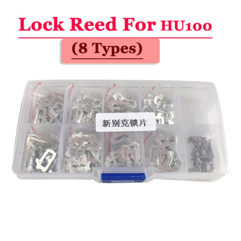 Free shipping (200pcs/box )hu100 car lock reed locking plate for opel lock (each type 25pcs) Repair Kits 200pcs lot hu92 car lock reed locking plate hu92 car locks tablets lock spring car locksmith tools
