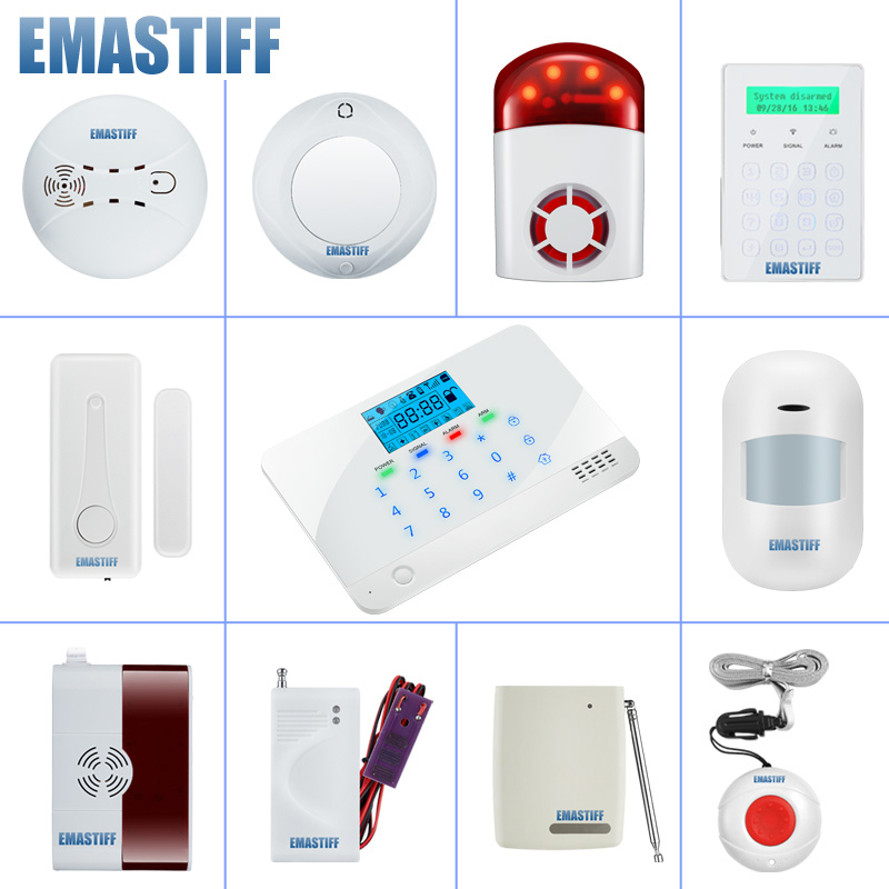most complete security accessories for the home family security GSM PSTN alarm system NEW Wireless Siren Fire Smoke Gas sensor title=
