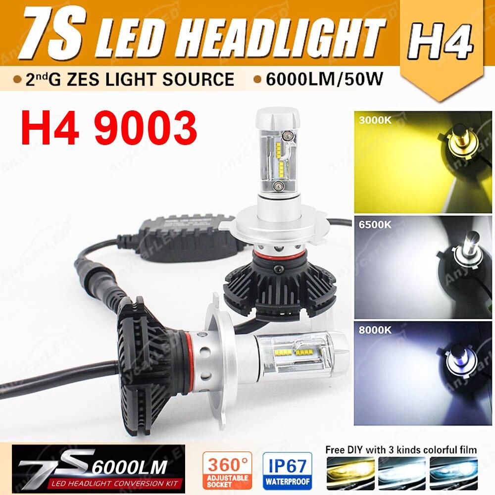 1 Set H4 7 S phare LED H7 H8 H9 H11 9005 9006 9012 50 W 6000LM LUMI LED LUXEON ZES Puces Fanless Tout-en-un De 3 K 6.5 K 8 K