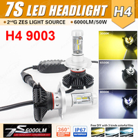1 Set H4 7S LED Headlight H7 H8 H9 H11 9005 9006 9012 50W 6000LM LUMILED LUXEON ZES Chips Fanless All in one Retrofit 3K 6.5K 8K
