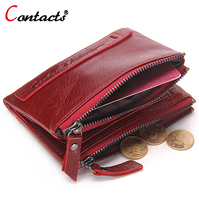 CONTACT'S  Genuine Leather Women Wallet Female Purse Men Wallet Small Zipper Coin Purse Leather Red Credit Card Holder Money Bag baellerry double zipper women business card holder wallet oil wax leather purse female name bank credit cards driver license bag