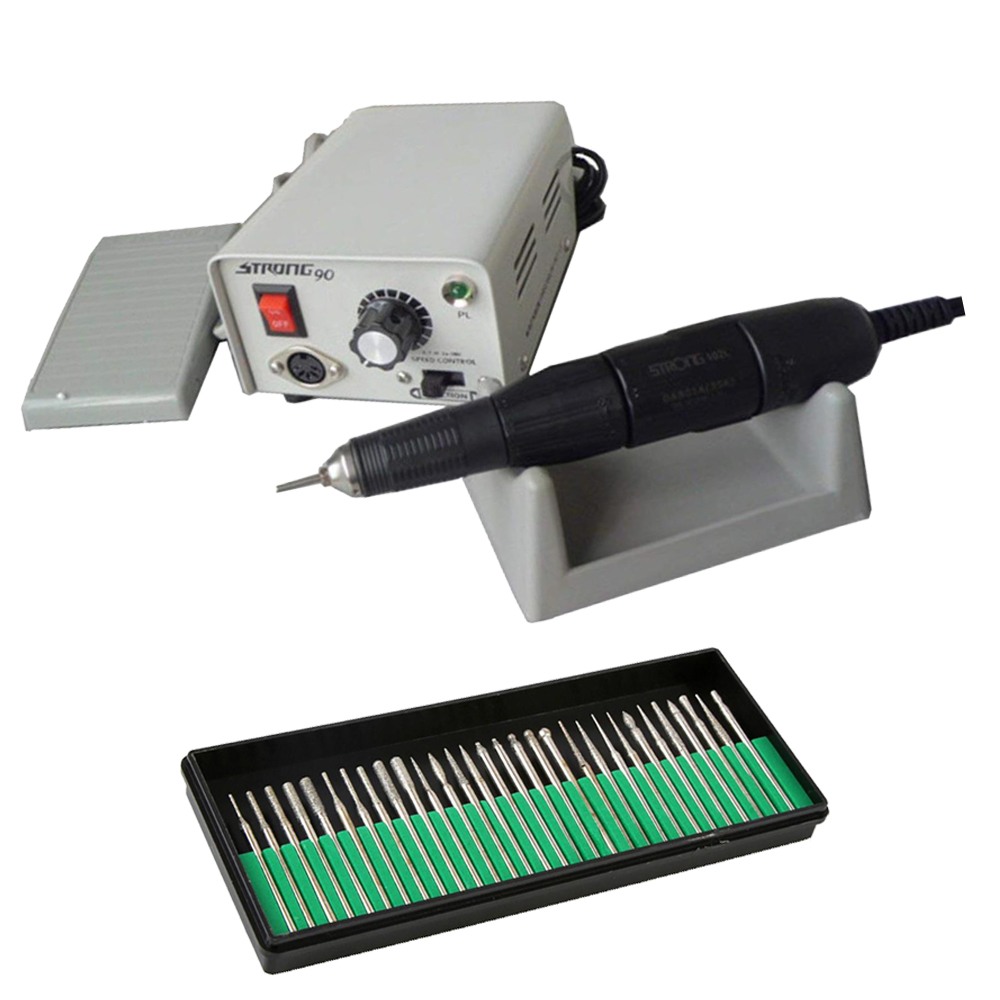 Korea Strong Nail Drills Machine 90+102L With Nail Drill Bits Set Manicure Pedicure Electric 35000 RPM File Nails Art Equipment