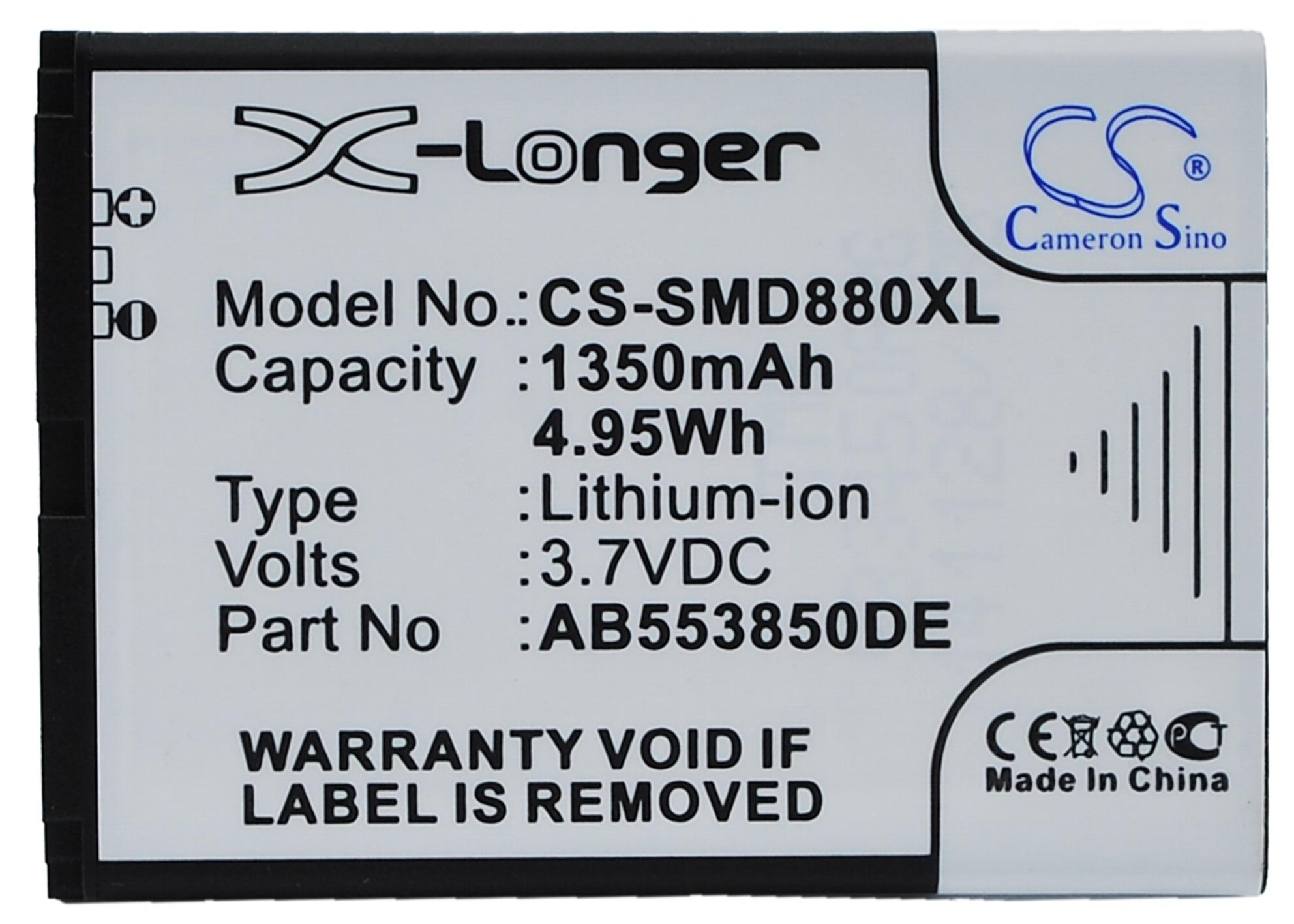 Cameron Sino 1350mAh Battery AB553850DC, AB553850DE for Samsung B5702C, B5712C, D880, D880i, D888, D988, I608, W599, W619, W629Cameron Sino 1350mAh Battery AB553850DC, AB553850DE for Samsung B5702C, B5712C, D880, D880i, D888, D988, I608, W599, W619, W629