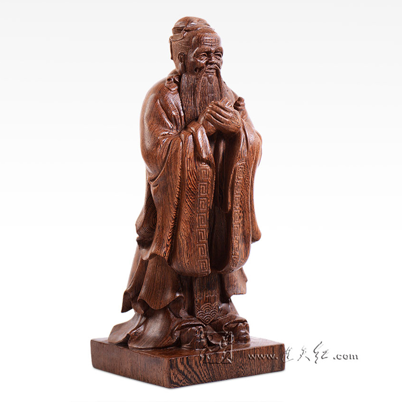 China Hand Carved Wood Statue of Confucius