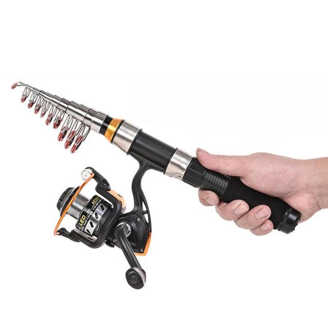 High quality Carbon Fiber Black ultra short Telescopic Fishing Rod Combo Spinning Fishing Gear Tackel Tool Accessories