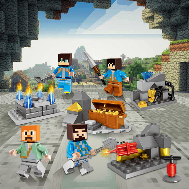 2018 HOT Minecraft Mineral Mining Minifigure Building Blocks Sets Educational Toy for Children Compatible LegoING Christmas Gift 2