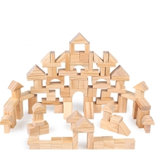 100pcs wooden toys montessori building blocks children wood early childhood educational free shipping