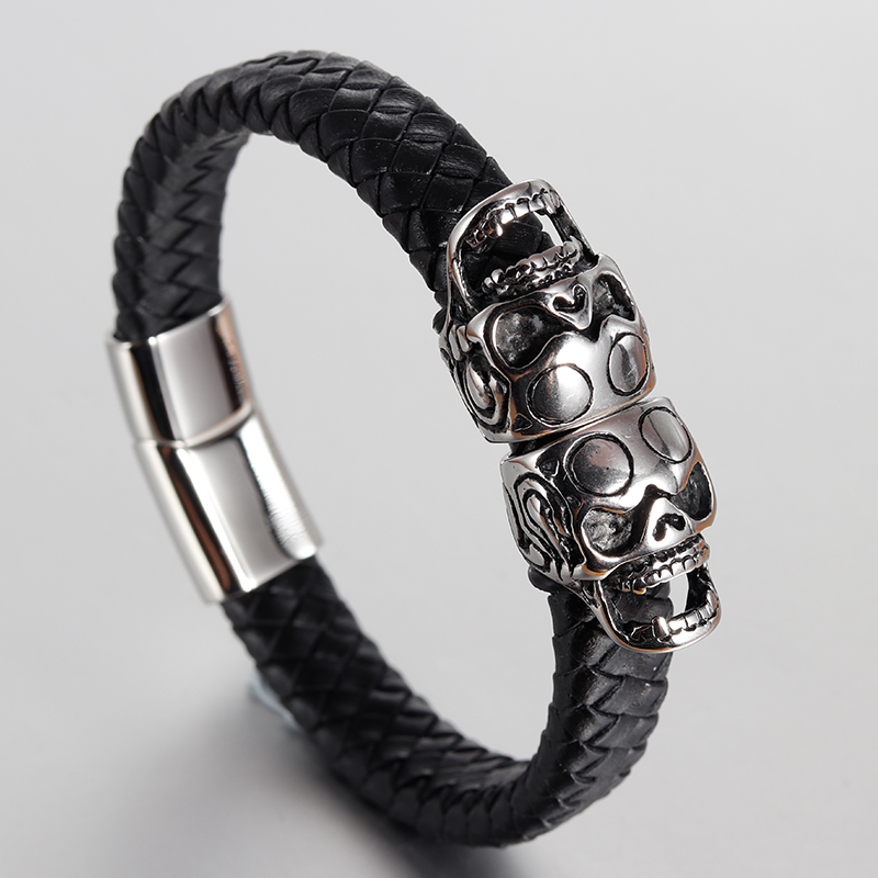 Punk Genuine Leather Bracelet Bangle Double Skull Charm Bracelet Men Women Woven Leather Rope Jewelry Magnet