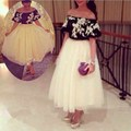 Vestidos Lovely off shoulder white with black ankle length prom evening dresses 2014