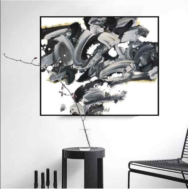 Абстрактная Геометрия холст картины черный, белый цвет и серый Плакаты ручной стены в искусстве для Гостиная Home Decor a014