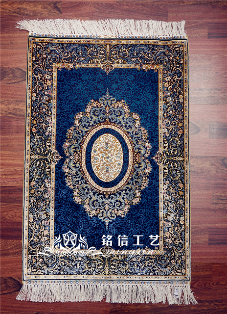 Mingxin 2x3ft Modern Carpets Turkish Silk Carpet Handmade Exquisite Iran Small Rug Bedroom Pray Rugs Floor