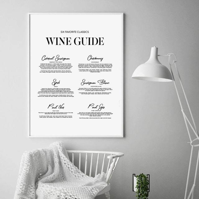 Wine Guide Kitchen Room Wall Art Canvas Print Modern Minimalist Bar Painting Dining