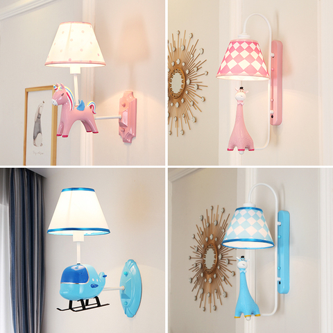 aviao dos desenhos animados girafa unicornio forma criancas lampada de parede arandela cuidados com os