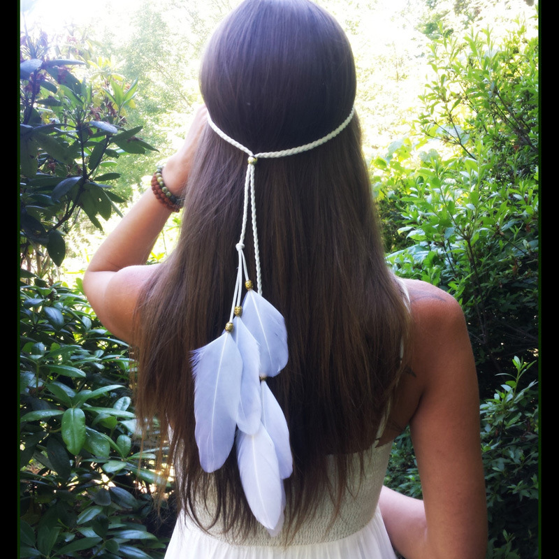 YULUCH 2018 Bohemian aesthetic woman beaded white feather headband for romantic style party fashion jewelry gift
