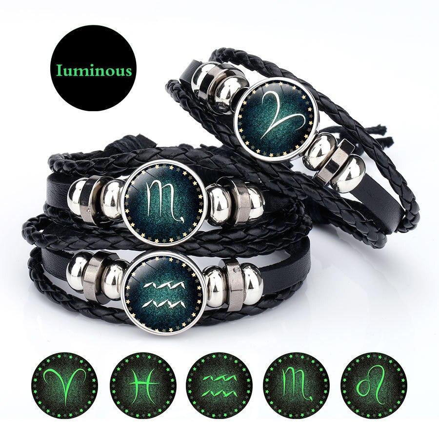 Punk 12 twelve Constellations Leather Zodiac Sign beads Vintage Snap Bracelet For Men Women Boys Accessories bracelets & bangles