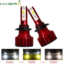 2X S6 Three Color Temperature Auto Headlight Bulbs Lamp H8 9005 9006 Auto LED CSP 6000lm 6500K 4300K 3000K