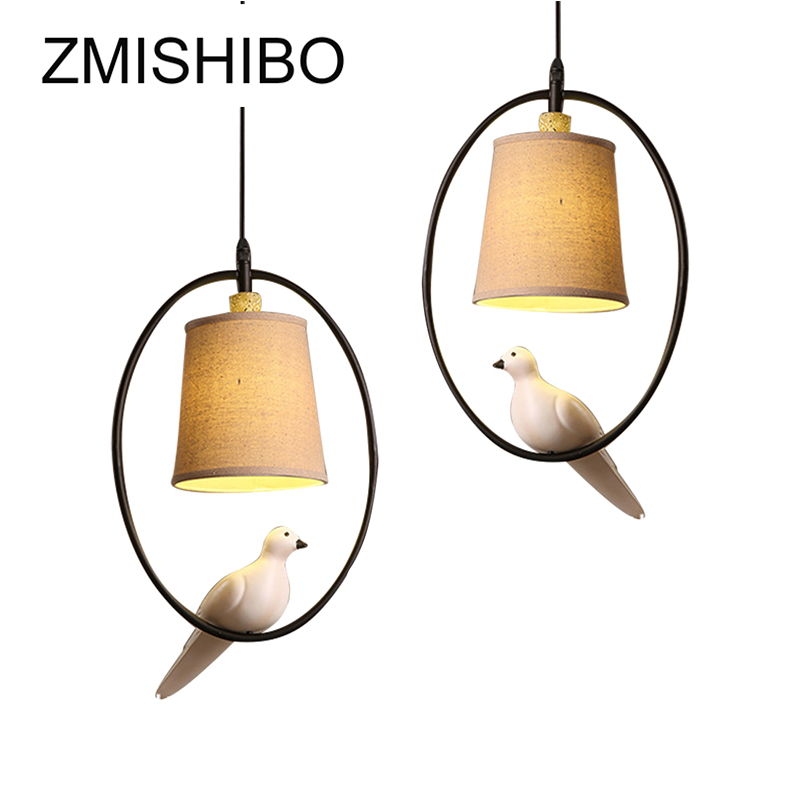 Latest Collection Of Zmishibo 110v-220v E14 1 M Pendant Light For Study Bird Drop Lights Beige Cloth Lampshade Hanging Lamp Loft Suspension Lights To Be Renowned Both At Home And Abroad For Exquisite Workmanship Ceiling Lights & Fans Skillful Knitting And Elegant Design Pendant Lights