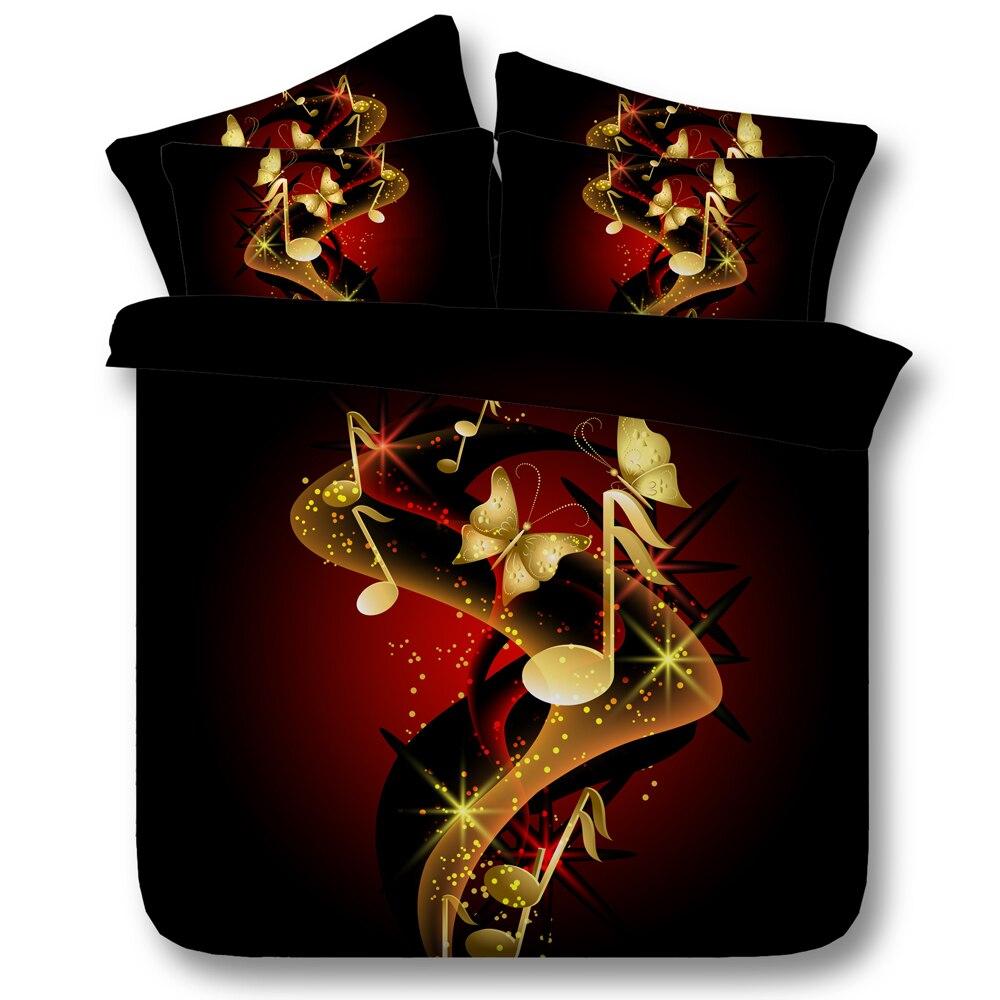 Linge de lit musique papillon 3d housse de couette reine unique ensembles de literie 3/4 pc couvre-lits king size 500tc garçons filles décor