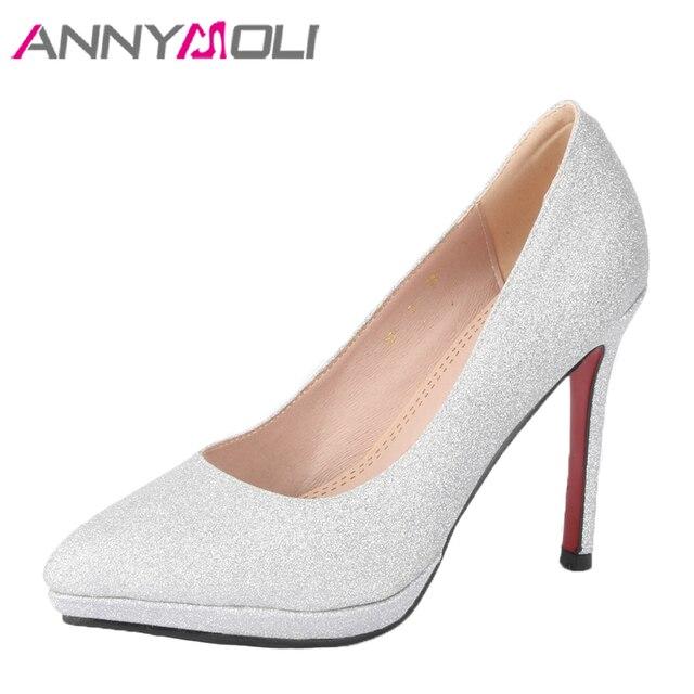 ANNYMOLI Platform High Heels Wedding Shoes Women Bling Bridal Pumps ...