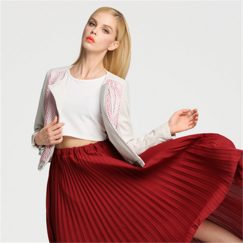 Slim Livraison Rose Mode Fit Pink En 2017 Femmes Éclair Noir Rue Moto Manteau Cuir Veste Courte Automne Printemps Gratuite Fermeture 6rBqx1wU6