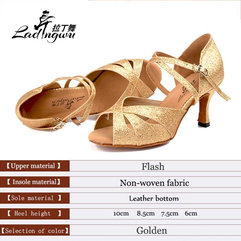 De Baile Saln Mujer Dorado W8ooq1ew Sandalias Flash Ladingwu IDE29WH