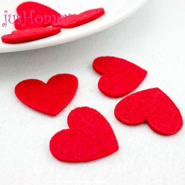20pcs 40mm Red Heart Patches Non Woven Felt Love Heart Cutouts For
