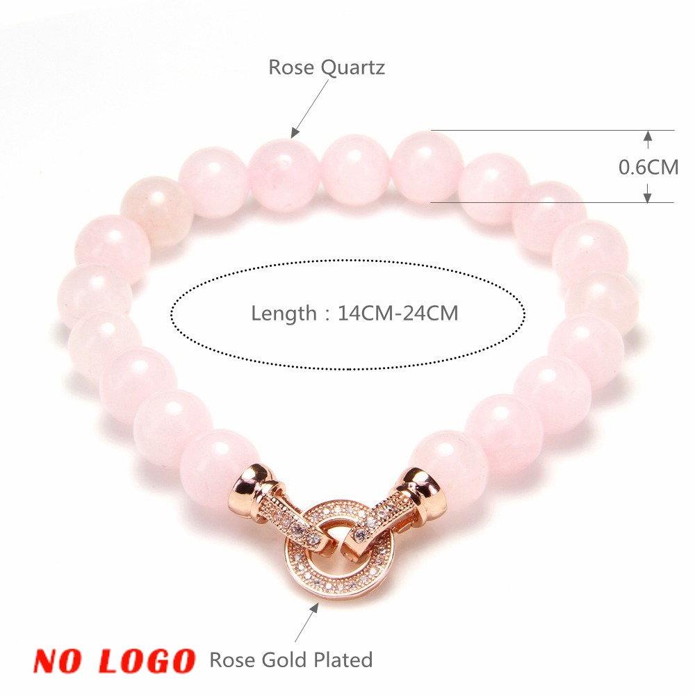 Thomas 8mm Rose Rose Bracelets De Perles De Quartz avec Rose Or - Bijoux fantaisie - Photo 6