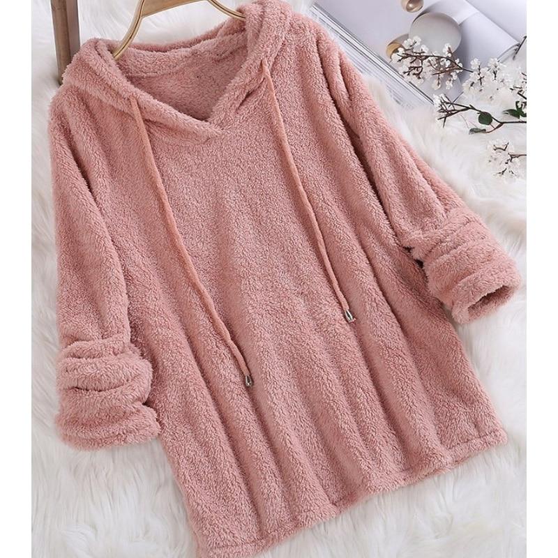 S-5XL Plus Size Autumn Winter Women Casual Long Sleeve Sweatshirt Long Sleeve Plush Fluffy Hoodies Fleece Pullover Teddy Pajama