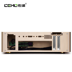Image 3 - Aluminum Computer Case Horizontal MINI ITX HTPC Small Chassis Color  Black Silver Gold Support 1U Power Size 150 x 80 x 40 mm