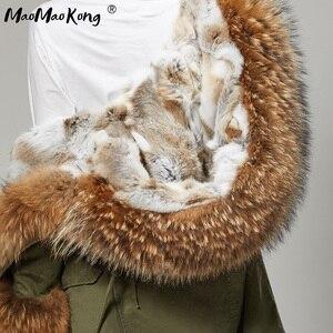 Image 5 - Fashion Women Parkas Rabbit Fur Lining Hooded Long  Coat Outwear Army Green Large Raccoon Fur Collar Winter Warm Jacket DHL