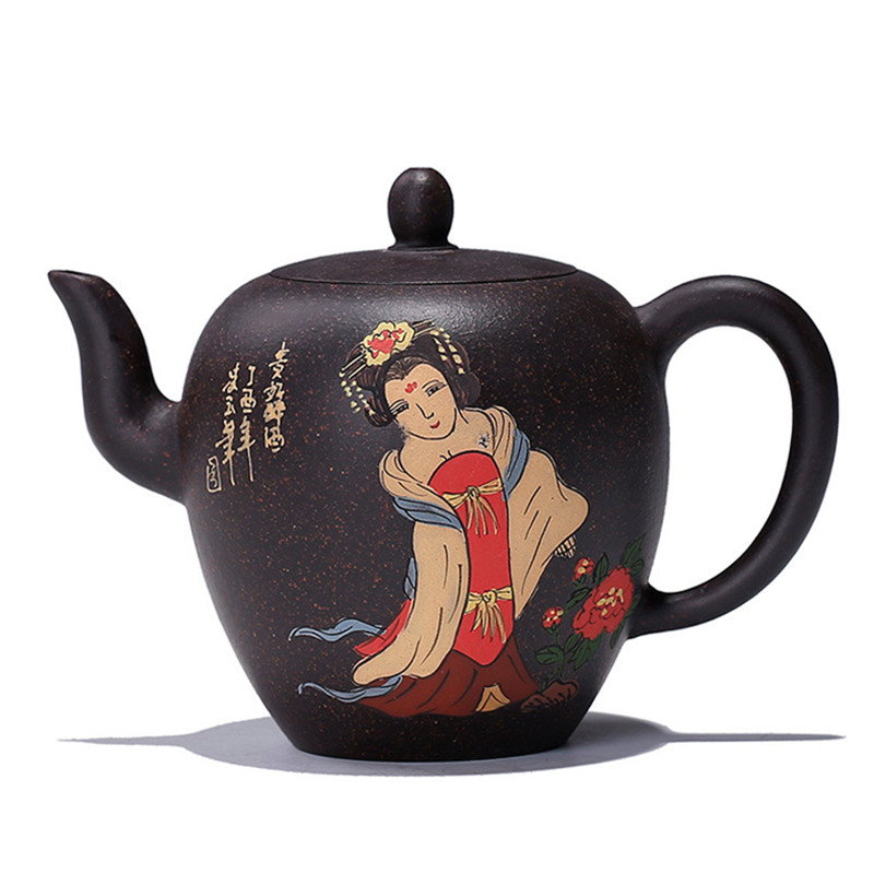 Beauté épaule à la main yixing théière violet argile bouilloire créative drinkware avec cadeau boîte costume Oolong thé puer