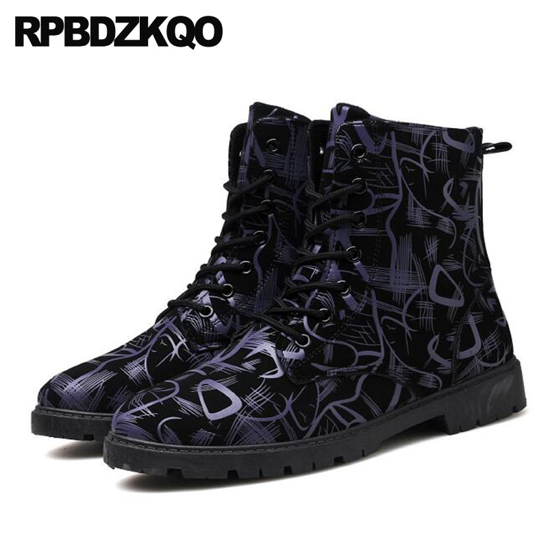 Zipper Military Army Chunky British Style Combat Fall 2021 Shoes Ankle Mens Winter Boots Warm Lace Up Faux Fur Stylish Black