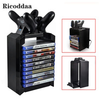 Multi functional Game Disk Tower Vertical Stand For PS4 Gamepad Controller Charging Dock Station For PlayStation 4 PRO Slim