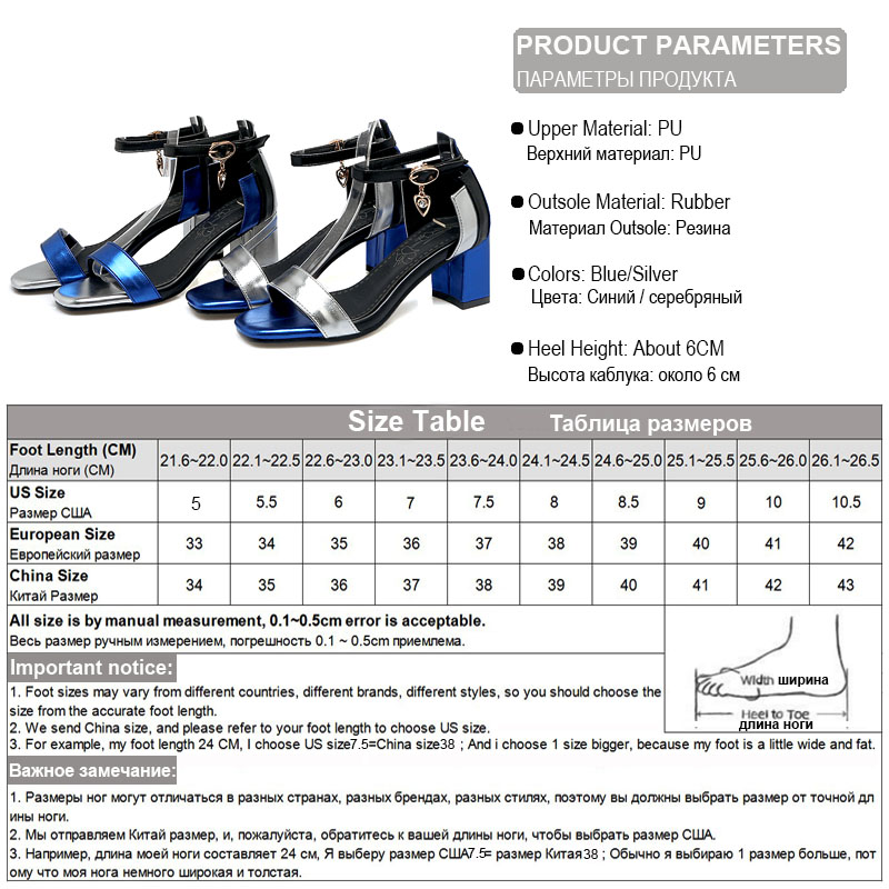 Image 5 - Phoentin ankle wrap buckle strap women sandals big size mixed colors crystal pendant sandalia square toe summer shoes 2019 FT260womans sandals big sizesummer shoeswomen sandals -