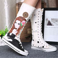 2016 trend High hand-painted shoes high canvas shoes lace-up shoes with flat side zippers casual shoes