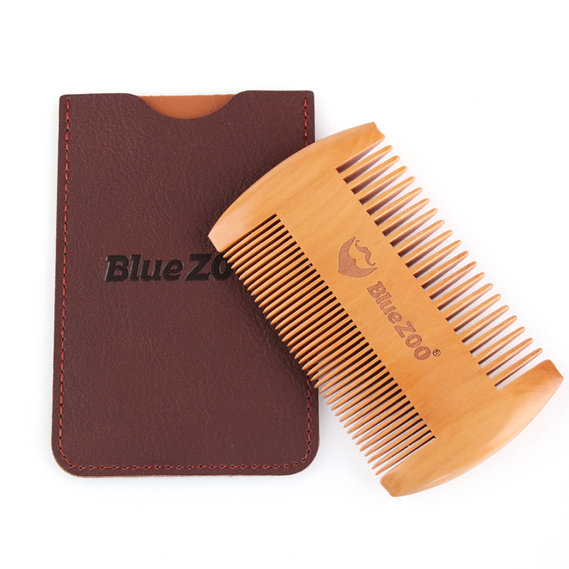 Fashion Anti Static Wooden Beard Comb Wood Pocket Comb With Fine Coarse Teeth For Beard Hair Mustaches Beard Hair Comb Maquiagem