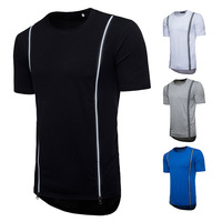 Men's Fashion tshirts Plus Size Hip hop Style Men's Long Zipper Decorative Short sleeved T shirt hip hop tshirt men male