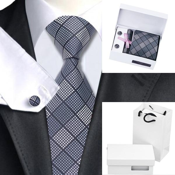 B-1199 Черный Серый Наборы Галстук Corbatas Hombre Пледы Проверяет Мужские Галстуки Платок Запонки с White Box Мешок Связей Для Мужчин