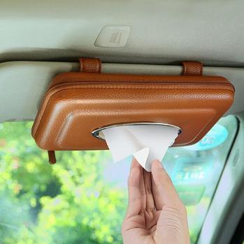 Moda tipo visera PU cuero coche servilleta caja de pañuelos coche tejido caja del asiento de coche PZJH044