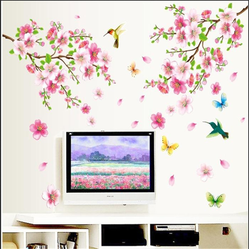 large elegant flower birds tree home decals wall stickers graceful Peach Blossom romantic living room wedding decoration mural