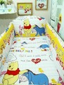 Promotion! 6PCS Winnie Baby crib bedding sets bumper,100% cotton cartoon crib baby bumper (bumpers+sheet+pillow cover)