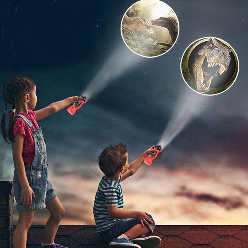 24 Patterns Dinosaur Projector Lamp LED Flashlight Cartoon Toys For Baby Sleep Light 90 Rotary Enlightenment Learning Toy Gifts