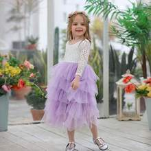 20232eaead22bb Nieuwe Meisjes Prinses Jurken Kant Bloem Tiered Tulle Maxi Jurk Lange Mouwen  Voor Wedding Party Kinderen Kleding E17104