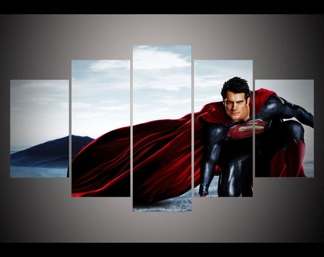 5 Panel HD Printed Painting Dawn Justice Batman V Superman Poster Canvas Print Home Decor Wall Art Picture For Living Room F0246