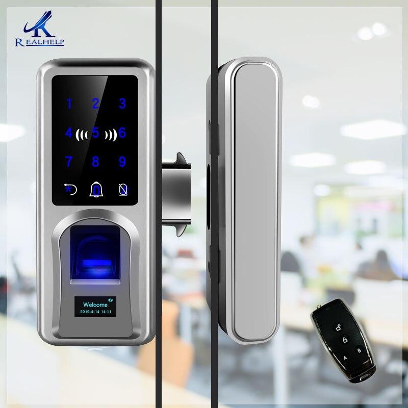 Porte coulissante serrure d'empreintes digitales vitrage serrure de porte intelligente à distance écran tactile sonnette bureau simple Double porte vitrée
