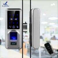 Sliding Door Fingerprint Lock Glazing Smart Door Lock Remote Touch Screen Doorbell Office Single Double Glass Door
