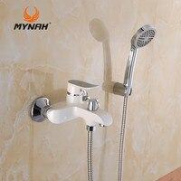 MYNAH Russland Kostenloser Versand Wand Montiert Wasserfall Badewanne Wasserhahn Wand Wasserhahn Weiß Hand Badewanne Wasserventil M3047J
